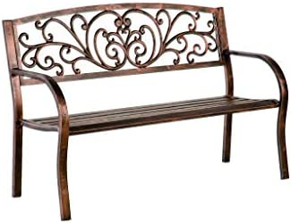 Blooming Patio Garden Bench Park Yard Outdoor Furniture, Iron Metal Frame, Elegant Bronze Finish, Sturdy Durable Construction, Scrollwork Design, Easy Assembly 50 L x 17 1 2 W x 34 1 2 H