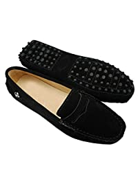 Minitoo Womens Casual Comfortable Suede Leather Driving Moccasins Loafers Boat Shoes Flats