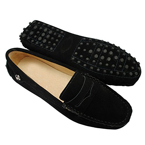 Penny Driving Mocs (Minishion Girls Womens Casual Comfortable Black Suede Leather Driving Moccasins Loafers Boat Shoes Flats 9 M US)