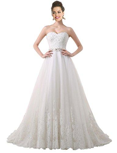 Besswedding Une Ligne Robes De Mariée De Perles 2016 Robes De Mariée En Dentelle Longue Avec Queue Blanche