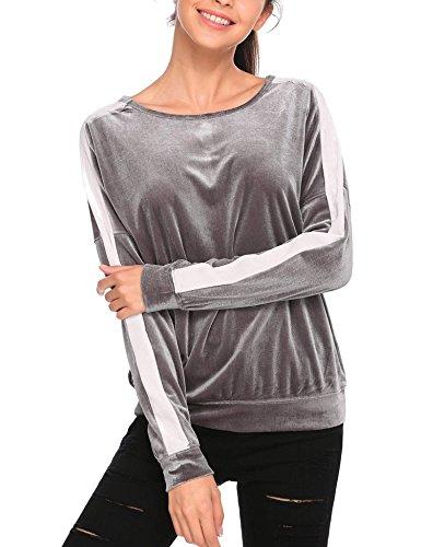 Zeagoo Women Vintage Velvet Long Sleeve Crew Neck Shirts Top Blouse Grey XL
