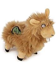 goDog Bucktooth Hairy Llama Plush Dog Toy - Tan