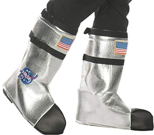 Underwraps Unisex Adult Astronaut Boot Top Covers Costume-Silver, One Size