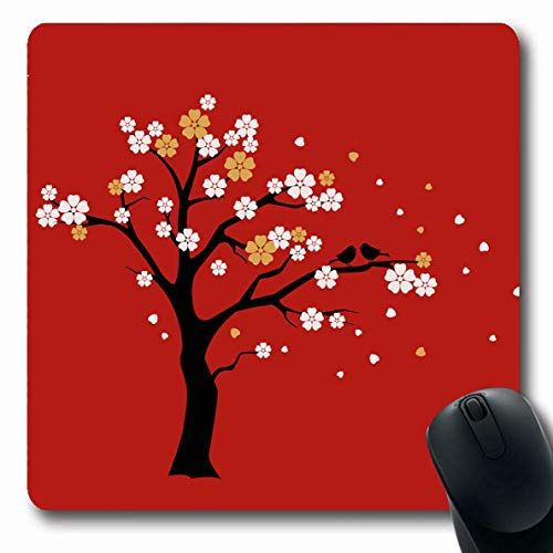 (Ahawoso Mousepads Stylize Blossom Sakura Tree White Gold Love Flowers Red Wall Asian Bird Blank Design On Oblong Shape 7.9 x 9.5 Inches Non-Slip Gaming Mouse Pad Rubber Oblong Mat)