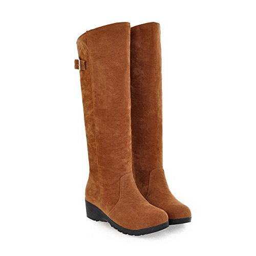 Synthetic Closed Brown Rubber Solid Round B M Womens 5 Heels US AmoonyFashion Wedge with Toe Boots Kitten Ef0xYq7