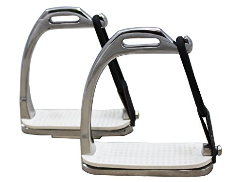 Derby Originals Peacock Safety Stainless Steel Stirrup Irons with Rubber Pads, Youth