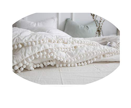 Meaning4 Ivory Comforter Quilt with Pom Poms Full Size Off White Pure Cotton Thin