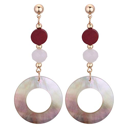 juler Round Geometry Shell Wooden Beads Long Earrings Stitching Metal Ball Stud Earrings,White,One Size