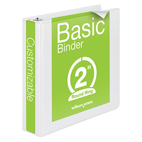 Wilson Jones Round Ring View Binder 2 Inch Basic 362 Series Customizable White (W362-44W)