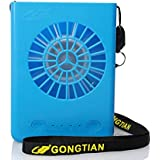 WHMING Portable Necklace Multi-functional Rechargeable Mini Fan 3 Speeds Personal Cooling Fan with 18650 Li-ion Battery & USB Charging & String for Home/Outdoors/Travel/Office (Blue)