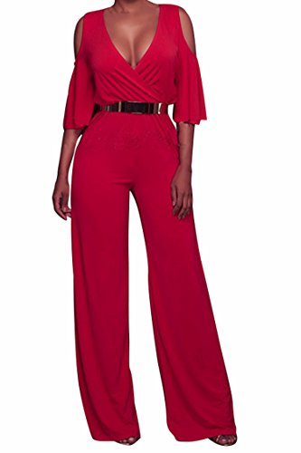 Rokiney Women Cold Shoulder Plunge V Neck Belted Wide Leg Jumpsuits Dress Ruby M