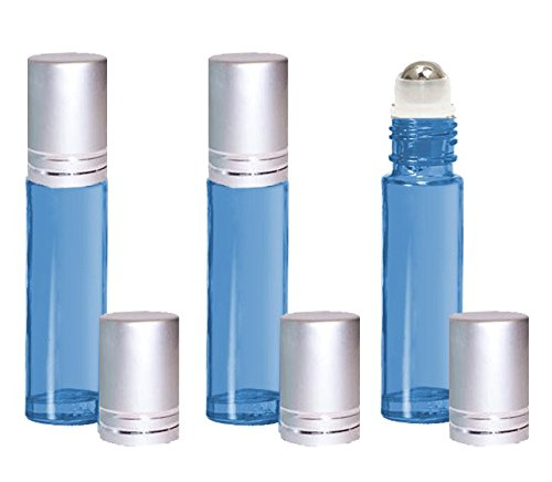 Grande 6 Lights (Grand Parfums Light Blue 10ml Glass Roll on Bottles with Stainless Steel Rollers Set of 6, Essential Oil, Perfume Bottles (Matte Silver Metallic Caps))