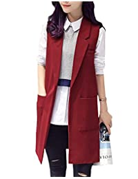 HomeToy Women solid color suit sleeveless vest Pocket Long Outwear