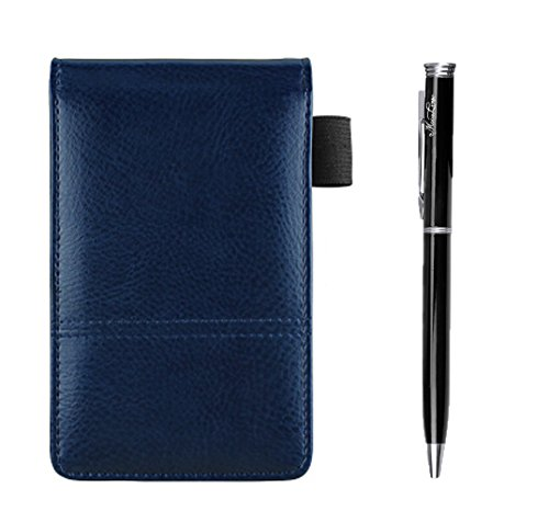 PU Leather A7 Business Notepads with Calculator, Small Pocket Jotter Memo Steno Notebook,Wide Lined 30 Pages Notes and Lists,Travel Notepads with Retractable Rollerball Point Pen,Black Ink
