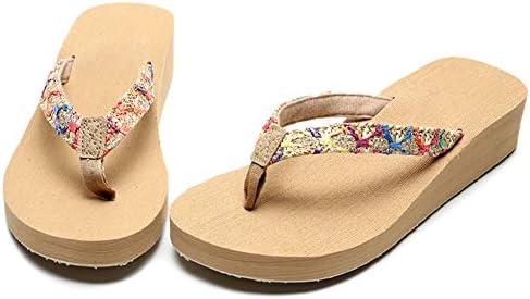 AUCDK Women Flip Flops Casual Style Wedge Heel Clip Toe