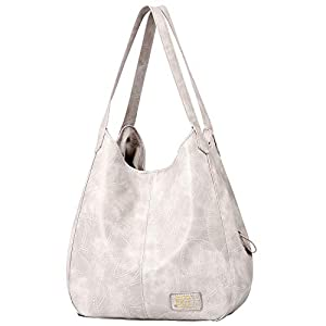 Hobo Bags for Women Soft Leather Shoulder Bags 3 Compartment Large Capacity Tote Bag Multi-pocket Handbags Girls Purse