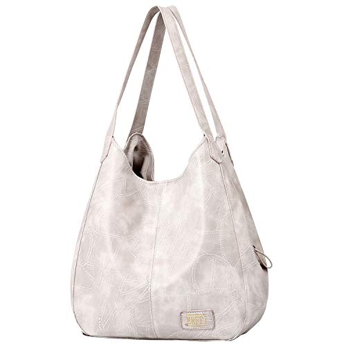 (Shoulder Bags for Women Soft Leather Hobo Bags 3 Compartment Large Capacity Handbag Multiple Pocket Tote Bag,White)