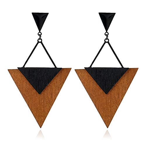 ALoveSoul Fashion Wood Earrings - Big Triangle earrings for Women Beautiful Dangling Ladies Boho Jewelry, Hypoallergenic Statement Earrings