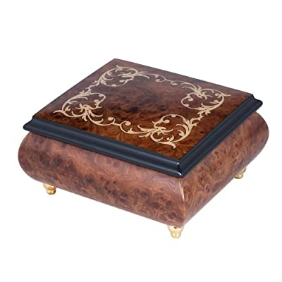 Italian Hand Crafted Inlaid Natural Wood Musical Jewelry Box - Plays Greensleeves