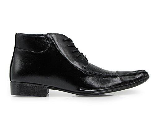 Enzo Romeo Prague01 Mens Dress Boots Alligator Crocodile Print Chelsea Chukka Ankle Lace Up short boots Black x1amMbx