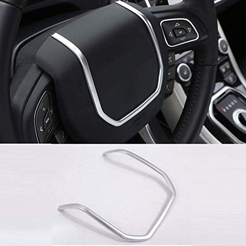 Car ABS Matte Silver Chrome Steering Wheel Decorative Strips Cover Trim Stickers for Land rover Range Rover Evoque 2012-2017 Accessory