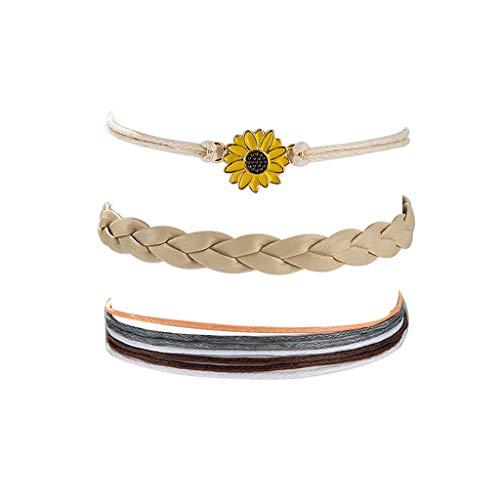Bravetoshop Fashion Glossy String Beaded Daisy Flower Bracelet Three-Piece Set(Gold)