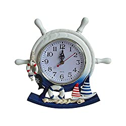 Wooden Rudder Clock Mediterranean Style Table Clock Beach Sea Theme Home Decor Creative Ship Steering Clock (not Contain battery)