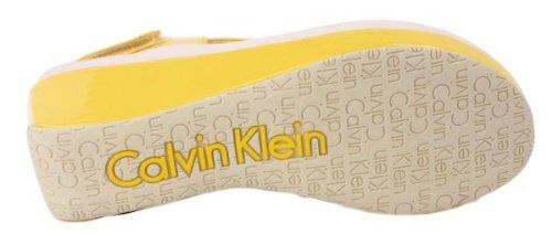 Calvin Klein Women's Wyomi Two Tone Patent Flatform Wedge Sandals