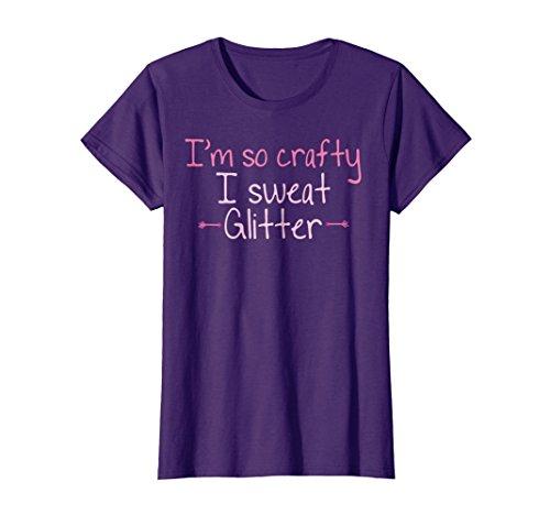 (Womens I'm So Crafty I Sweat Glitter T-shirt | Cute Pink Arrows XL Purple)