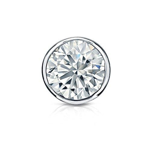 Diamond Wish 14k White Gold Round SINGLE STUD Diamond Earring (1/8cttw, H-I, I2-I3) Bezel-Set, Screw Back ()