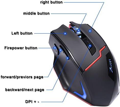 kingtop Souris de gaming Dual Mode Wired et 2.4G sans fil souris ergonomique rechargeables 3200dpi