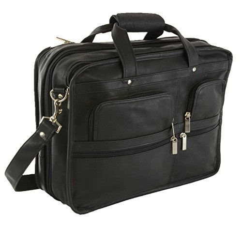 Hammer Anvil Turbo Colombian Leather Briefcase Top-Zip Laptop Messenger Bag BLK