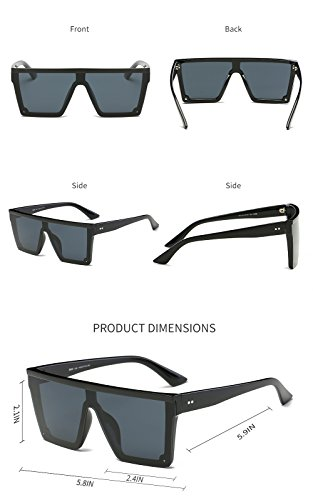 eb2d2c8e3e963 DONNA Cool Unisex Oversized Flat Top Sunglasses Square Aviator Shades D89(Glossy  Black)