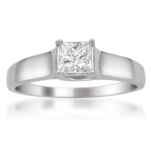 14k White Gold Princess cut Diamond Solitaire Engagement Ring (1/2 cttw, H I, I1 I2)