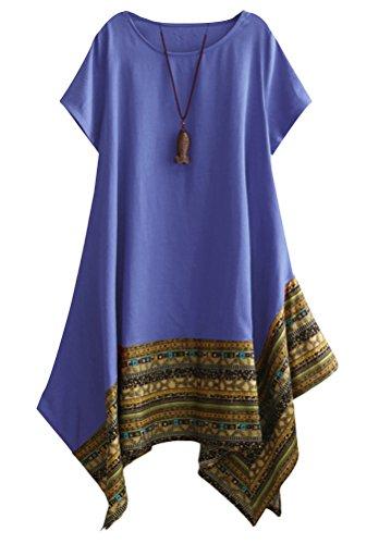 Minibee Women's Ethnic Cotton Linen Short Sleeves Irregular Tunic Dress (L, Blue) (Other Linen)