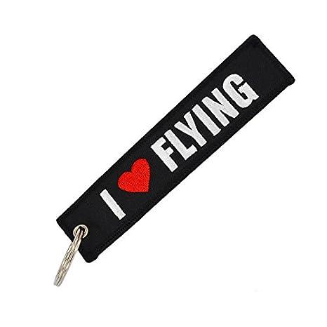 Tomcrazy PILOT Keychain, Double sided Embroidered Fabric I LOVE FLIYING Aviation Ring Key Chain,Bags decorative ornaments Keychains ATV UTV Pilot Tag Lock (3PCS (Mixed 3 Designs)) Ruidou Technology Co Ltd