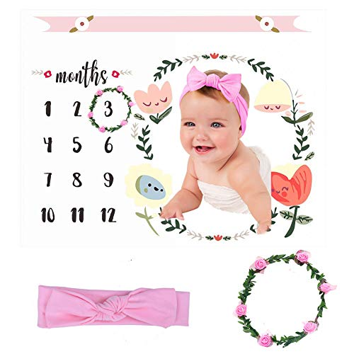 Mostata Baby Milestone Blanket Photography Background Prop, Photo Shoots Backdrop for Newborn Growing Infants Toddlers, (Headband and Flower Ring Included)
