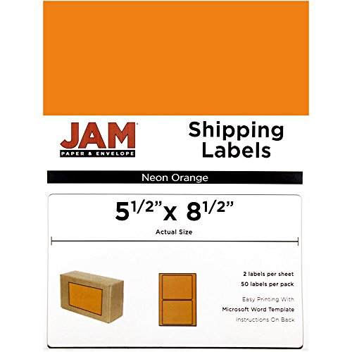 - JAM PAPER Shipping Labels - Half Page - 5 1/2 x 8 1/2 - Neon Orange - 50/Pack