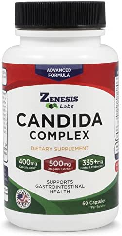 Candida Cleanse Detox Caprylic Acid Supplement - 60 Capsules - For Yeast Infections - With Oregano Extract, Probiotics, Enzymes, Other Extracts - 30 Day Supply