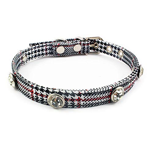 Dogs Kingdom Cat Collar with Shiny Rhinestone for Kitty and Some Puppy Adjustable Collar with Metal D-Ring,Houndstooth Small,S:8.7-10.7