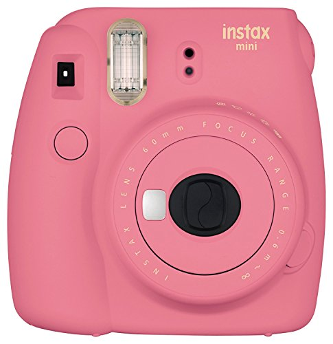 Fujifilm Instax Mini 9 Instant Camera - Flamingo Pink, Fujifilm Instant Mini Rainbow Film, and Fujifilm Instax Groovy Camera Case - Pink