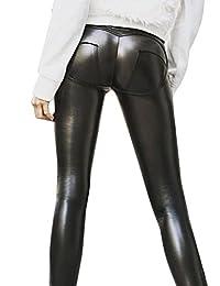 BerryGo Women's Sexy PU Leather Elastic Skinny Push Up Pants
