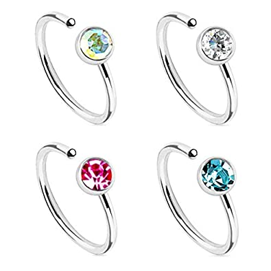 BodyJ4You Body Jewelry Piercing Nose Hoop Ring Stainless Steel 20G (8mm) Value Pack 4PC NR0440