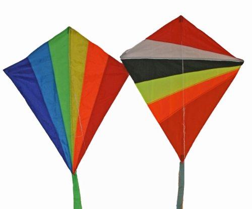 Weifang New Sky Rainbow Diamond Shape Kites (2 sets) 24-inch with Long Tail