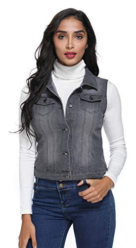 MISS MOLY Women's Denim Vest Button Up Sleeveless Washed Jean Jacket w 2 Chest Flap Pockets M Grey Black
