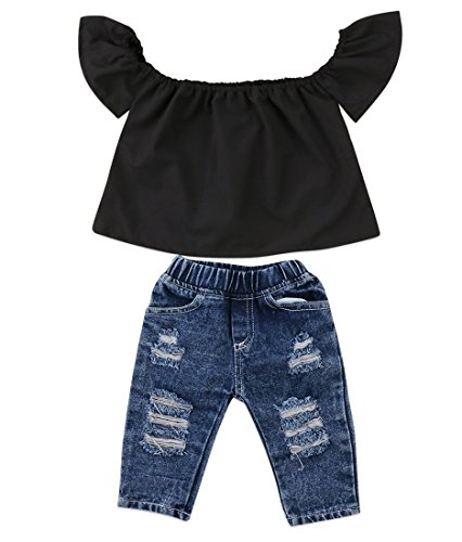 Newborn Kids Baby Girls Off Shoulder Tops Ruffle Sleeve Denim Long Pants Outfits Set Toddler Clothes (Black, 6-12M) ()