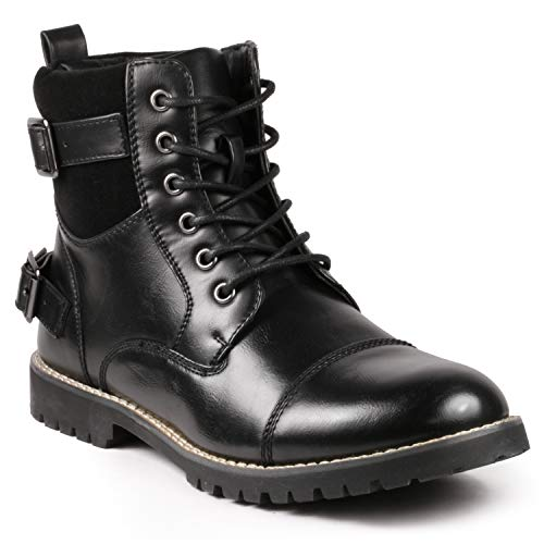 Metrocharm MC306 Mens Casual Work Lace Up Classic Motorcycle Combat Boots (12, Black)