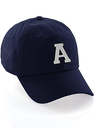 (Custom Dad Hat A-Z Initial Letters Classic Baseball Cap - Navy Hat with Black White Letter)