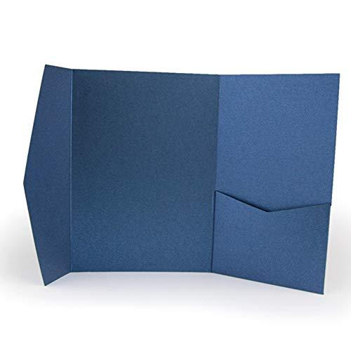 - 25 Pocket Fold Invitation Holder Wedding Supplies Dark Blue Metallic A7#176