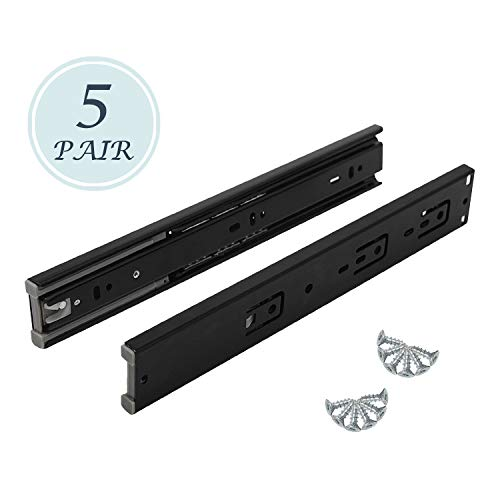 Soft Close Ball Bearing Drawer Slides - 5 Pairs of Black Finish Steel Slide Home Hardware Accessories Used for Drawer 12